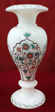 """9"""" White Marble Flower Vase Rare Marquetry Mosaic Inlay Collectible Gifts H2296"""