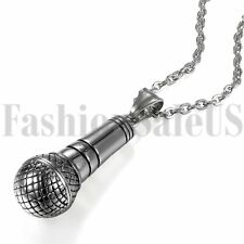 Stainless Steel Men's Vintage Silver Tone Microphone Pendant Necklace Chain 22""