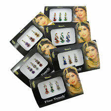 Bollywood style 6 PC Assorted Multicolor Bindis Indian Forehead Stickers Tattoos