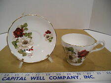 Royal Ascot English Bone China Floral Tea Cup & Saucer Set w/Gold Trim - EUC