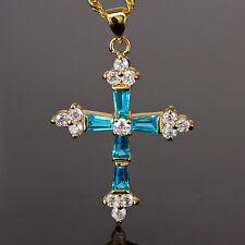 Fashion Jewellery Cross Cut Topaz Aquamarine Gold Tone Pendant Necklace