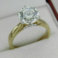 Solitaire Engagement Ring 1.20Ct Round Genuine Moissanite 14k Yellow Gold Over