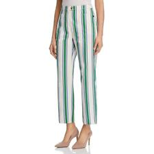 Tory Burch Womens Cotton High Rise Striped Ankle Pants Trousers BHFO 7480