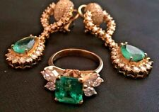 Magnificent Diamond and Emerald Ring & Earring Set - 6.5 Total Carats