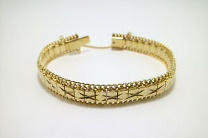 """18K Yellow Gold Layered Old School 12mm Wide Bracelet 8""""- 8.5"""" With Safety Chain"""