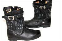 PALLADIUM Bottines Boots Cuir Souple Clouté Noir T 38 TBE