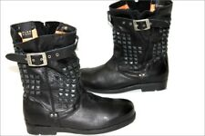 PALLADIUM Bottines Boots Cuir Souple Clouté Noir T 38 TBE