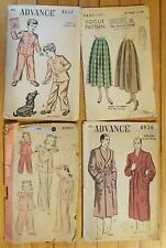 Lot of 4 1940's patterns; Advance, Hollywood & Vogue