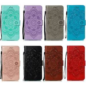 Embossed flowers Leather Flip Stand Wallet Case Slot Cover For Lots phone models