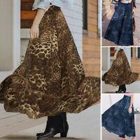 ZANZEA Damen Leopard Printed Elastische Taille A-Linie Röcke Lang Party Kleid