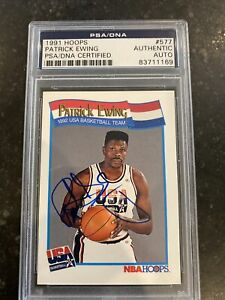 Patrick Ewing USA Dream Team Knicks 1991 Hoops Signed AUTOGRAPH PSA Authentic