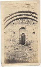 Antique Old Photograph of Woman Standing in Ancient or Medieval Building 1920's