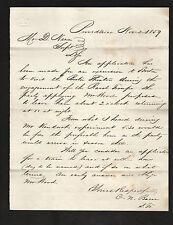 1859 letter to DANIEL NASON, Boston & Providence Railroad *Ravel Troupe *signed