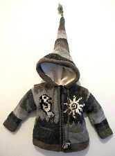 Wool Pixie Winter Jacket Fleece Festival Hoody Coat Nepal Childrens/Kids 1year +