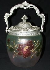 POT A BISCUITS SEAU VERRE EMAILLE ANCIEN / ANTIQUE FRENCH ENAMEL ART GLASS JAR