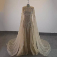 Elegant Formal Long Evening Dress Champagne Tulle Cape Beaded  Prom Party Gown