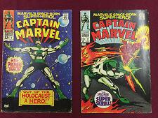 Captain Marvel #1-2 VG Lot  First Solo Captain Marvel  Gene Colan B@@yah!