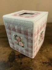Handmade Needlepoint Plastic Canvas Tissue Box Cover - Dusty Rose Floral Gingham