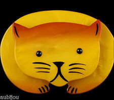MARIE CHRISTINE PAVONE FIGURAL BRIGHT YELLOW GALALITH CAT PET BROOCH PIN PARIS