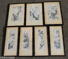 Un set di 7 classica cinese pittura su carta probabilmente XILOGRAFIA Stampato #20150093