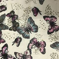 100% Craft Sewing Cotton Butterfly Pattern Metre Fabric