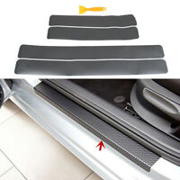 4XGray color car door sill scuff welcome pedal protect carbon fiber stickers CR