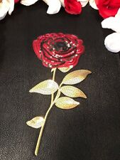 Red Sequin Beauty Rose Embroidered Fashion Iron On Patch DIY Jacket Large