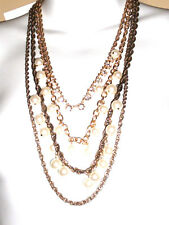 Ann Taylor Metallic Double Strand Crystal Coin Necklace NWT $98.00