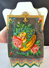 Antiqe MICRO Beaded FIGURAL Floral Hanbag Gems Amazing Fringe