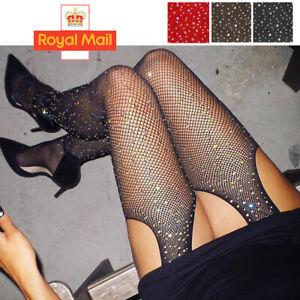 Sexy Fishnet Diamond Tights Pantyhose Sexy Fence Net Stockings Crystals Women UK