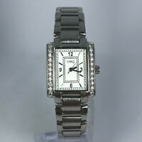 DMQ Womens 1115 Swaroski Crystals Silver Tone Stainless Steel Band Watch