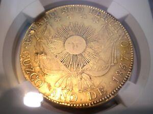1837 PERU CUZCO 8 ESCUDOS 8E GOLD COIN
