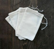 "25 pcs (4""x6"") Cotton Muslin Drawstring Bags Bath Soap Herbs"