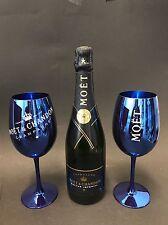 Moet Chandon Nectar Imperial Champagner Flasche 0,75l 12% Vol + 2 Echt Glas Blau