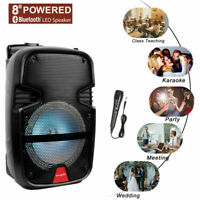 """8""""  Portable FM Bluetooth Speaker Sound System Party Tailgate Mic Remote Outdoor"""