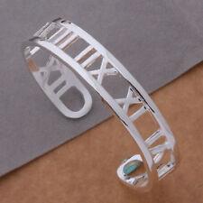 Bangle Bracelet =Uk Seller= 925 Silver Plated Roman Numeral
