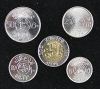 Saudi Arabia Coins Set of 5 Pieces UNC, With Bimetal Coin