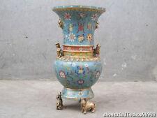 China Regius 100% Pure bronze Cloisonne kylin beast Lion Unicorn Kylin pot Vase
