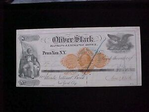 U.S: USED CHECK #RND9 1872 OLIVER STARK BANKING & EXCHANGE OFFICE PENN YAN NY