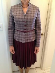 WOMEN'S PLUM, PLAID TWO-PIECE PLEATED SUIT (JACKET AND SKIRT) WITH BELT