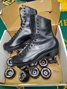 Vtg Riedell Red Wing Black Leather Roller Skates Sz 9 sure grip motion wheels