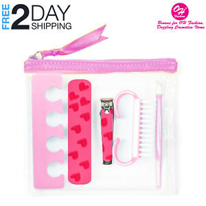 OH Fashion Manicure Set Pedicure Transparent Pink nail clipper cuticle pusher