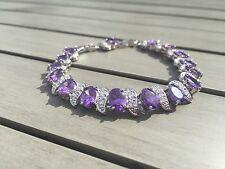 Dipped Sterling Silver Purple Amethyst & White Topaz Tennis Bracelet 7-8 inch ED
