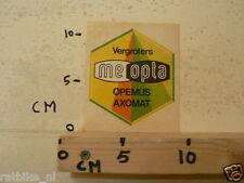 STICKER,DECAL MEOPTA VERGROTERS OPEMUS AXOMAT
