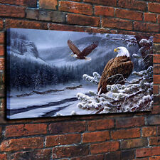 HD Print Rosemary Millette Snow Eagle decorative art painting on canvas 16x26