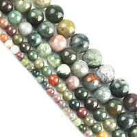 15'' Strand India Agate Gemstone Round Loose Spacer Beads 4 6 8 10mm Finding DIY