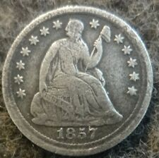 Silver 1857 US Philadelphia Mint Seated Liberty Half Dime - Great Details