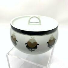 Vintage Covered Bowl Mod Floral Porcelain Sugar Candy Catchall Mid Century Moder