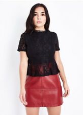 New Look - Petite Black Lace Peplum Top - Size 8 - BNWT