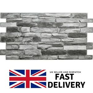Grey Stone Effect PVC Plastic Wall Covering Panels 3D Decorative Tiles Cladding